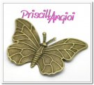 Aplique fornitura filigrana bronce mariposa 60x40 mm