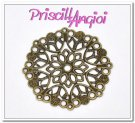 Antique Bronze Filigree Flower 35 mm