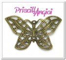 Aplique fornitura filigrana bronce mariposa 31x22 mm